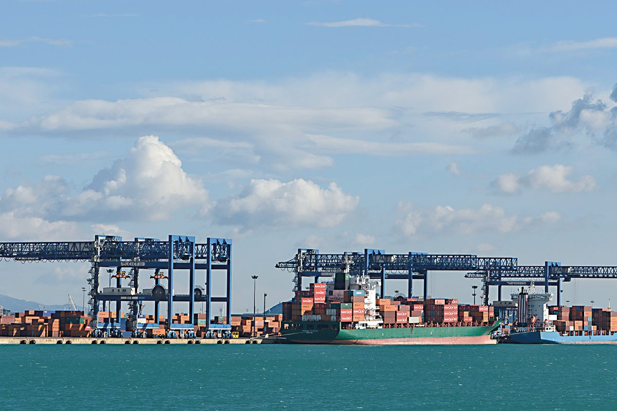 Commercial container port in sardinia in the city of Cagliari.