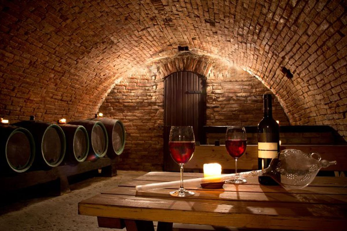 21362562 - wine cellar with wine bottle and glasses